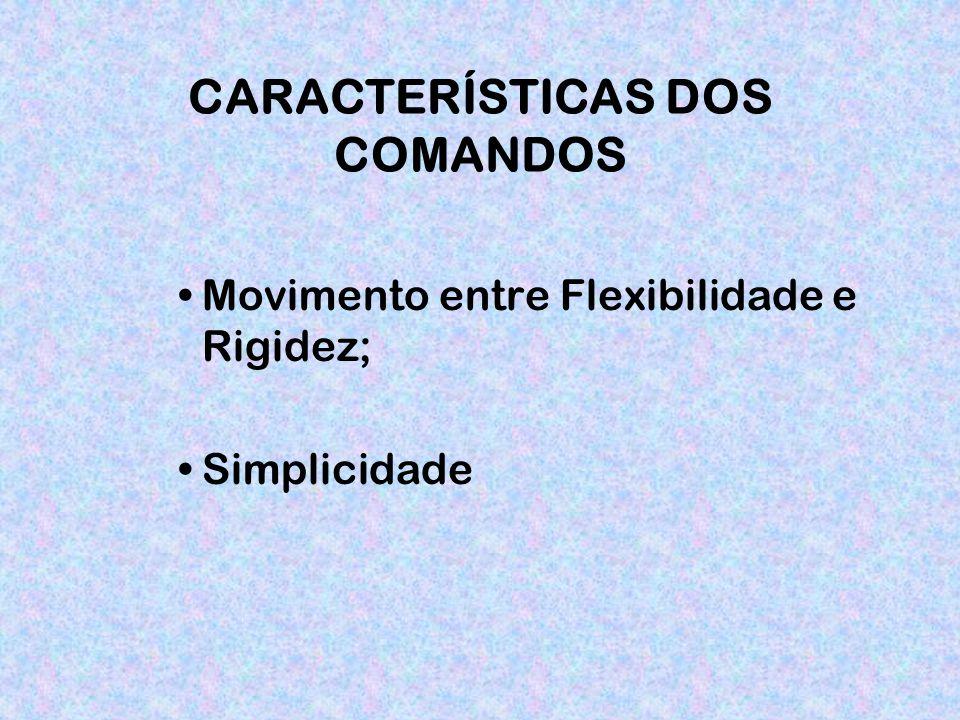 CARACTERÍSTICAS DOS COMANDOS Movimento entre Flexibilidade e Rigidez; Simplicidade