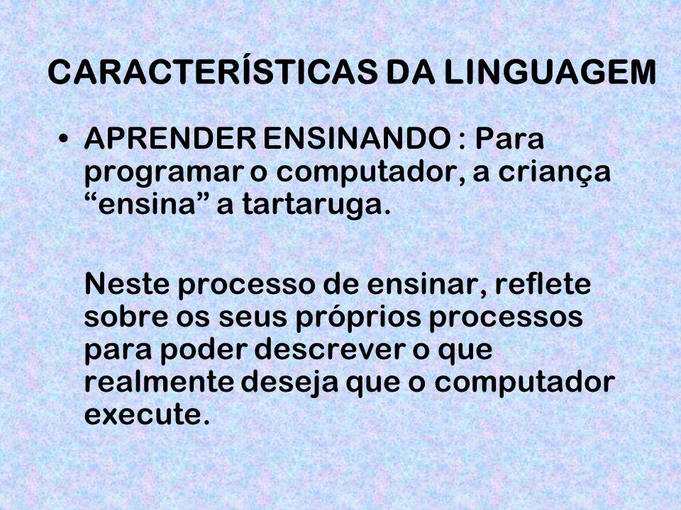 CARACTERÍSTICAS DA LINGUAGEM APRENDER ENSINANDO : Para programar o computador, a criança ensina a tartaruga.
