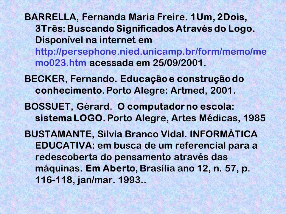 BARRELLA, Fernanda Maria Freire.1Um, 2Dois, 3Três: Buscando Significados Através do Logo.