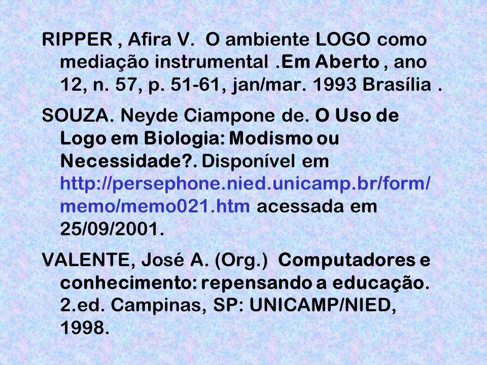 RIPPER, Afira V.O ambiente LOGO como mediação instrumental.Em Aberto, ano 12, n.
