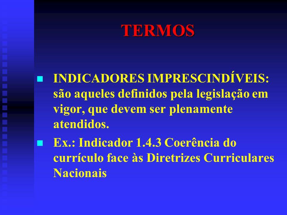 TERMOS INDICADORES IMPRESCINDÍVEIS: são aqueles definidos pela legislação em vigor, que devem ser plenamente atendidos. Ex.: Indicador 1.4.3 Coerência