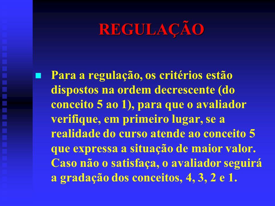 REGULAÇÃO Para a regulação, os critérios estão dispostos na ordem decrescente (do conceito 5 ao 1), para que o avaliador verifique, em primeiro lugar,