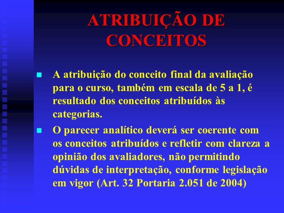 ATRIBUIÇÃO DE CONCEITOS A atribuição do conceito final da avaliação para o curso, também em escala de 5 a 1, é resultado dos conceitos atribuídos às c