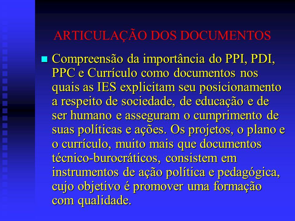 ARTICULAÇÃO DOS DOCUMENTOS Compreensão da importância do PPI, PDI, PPC e Currículo como documentos nos quais as IES explicitam seu posicionamento a re