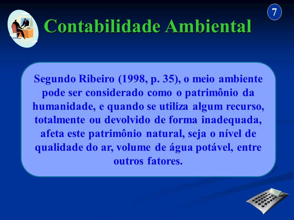 Contabilidade Ambiental 7 Segundo Ribeiro (1998, p. 35), o meio ambiente pode ser considerado como o patrimônio da humanidade, e quando se utiliza alg