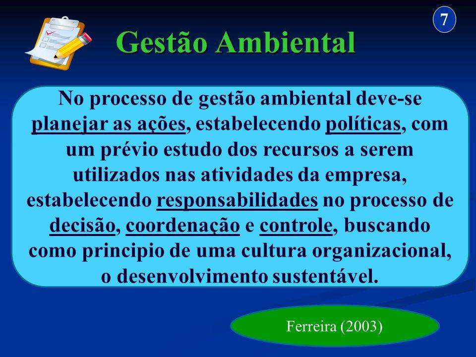 Gestão Ambiental 7 No processo de gestão ambiental deve-se planejar as ações, estabelecendo políticas, com um prévio estudo dos recursos a serem utili