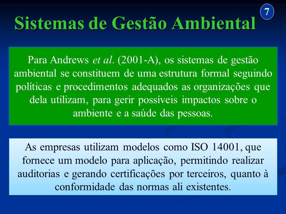 Sistemas de Gestão Ambiental 7 Para Andrews et al. (2001-A), os sistemas de gestão ambiental se constituem de uma estrutura formal seguindo políticas