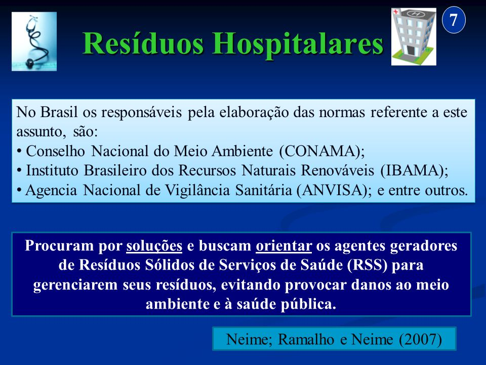 Resíduos Hospitalares 7 No Brasil os responsáveis pela elaboração das normas referente a este assunto, são: Conselho Nacional do Meio Ambiente (CONAMA