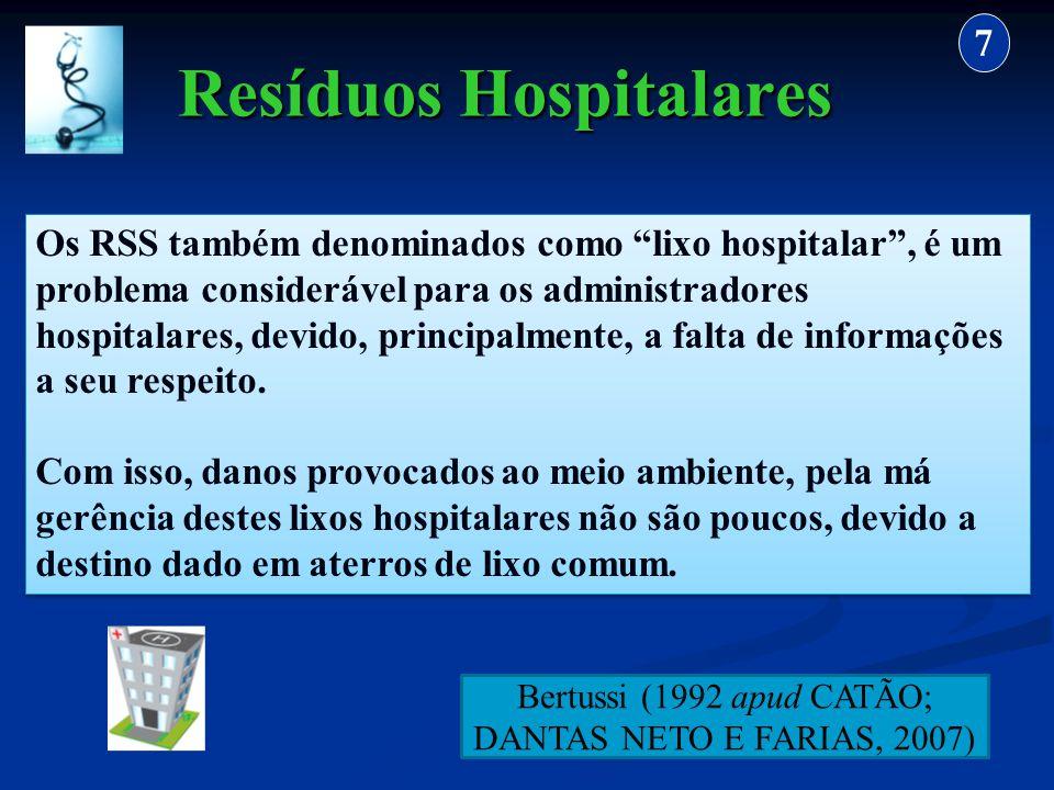 Resíduos Hospitalares 7 Os RSS também denominados como lixo hospitalar, é um problema considerável para os administradores hospitalares, devido, princ