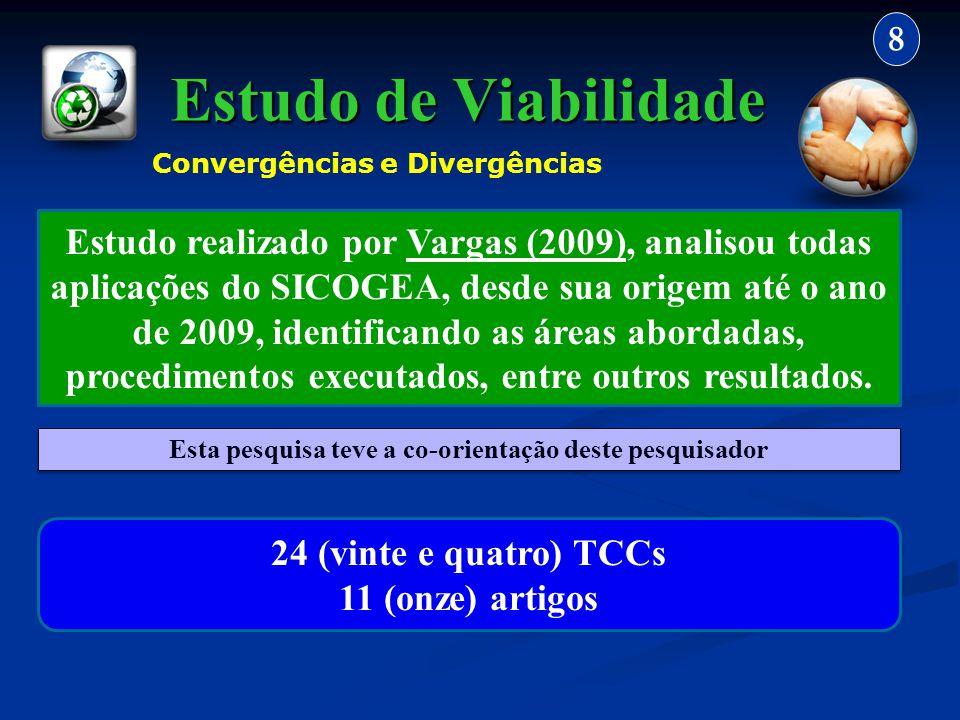 Estudo de Viabilidade 8 Estudo realizado por Vargas (2009), analisou todas aplicações do SICOGEA, desde sua origem até o ano de 2009, identificando as