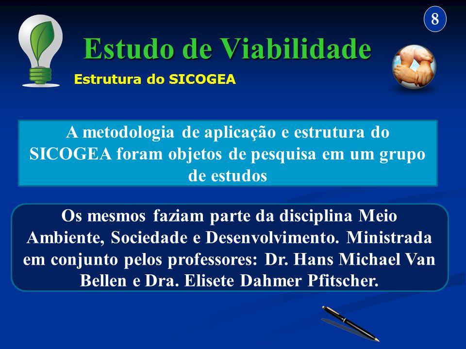 Estudo de Viabilidade 8 A metodologia de aplicação e estrutura do SICOGEA foram objetos de pesquisa em um grupo de estudos Os mesmos faziam parte da d