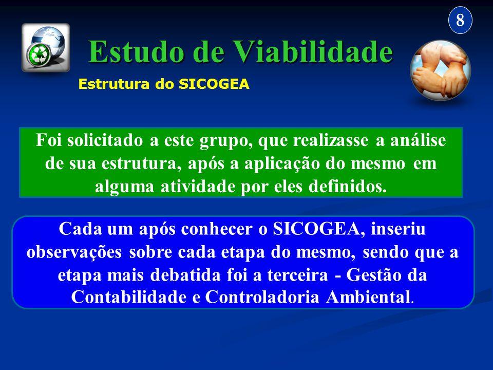 Estudo de Viabilidade 8 Foi solicitado a este grupo, que realizasse a análise de sua estrutura, após a aplicação do mesmo em alguma atividade por eles