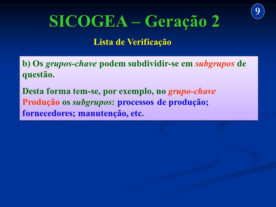 b) Os grupos-chave podem subdividir-se em subgrupos de questão. Desta forma tem-se, por exemplo, no grupo-chave Produção os subgrupos: processos de pr