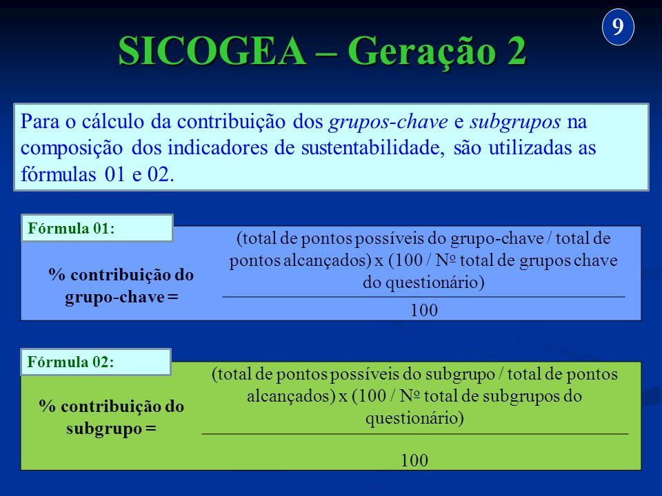 % contribuição do subgrupo = (total de pontos possíveis do subgrupo / total de pontos alcançados) x (100 / N o total de subgrupos do questionário) 100
