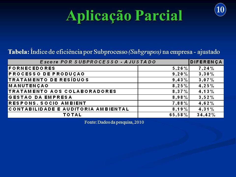 Aplicação Parcial 10 Fonte: Dados da pesquisa, 2010 Tabela: Índice de eficiência por Subprocesso (Subgrupos) na empresa - ajustado