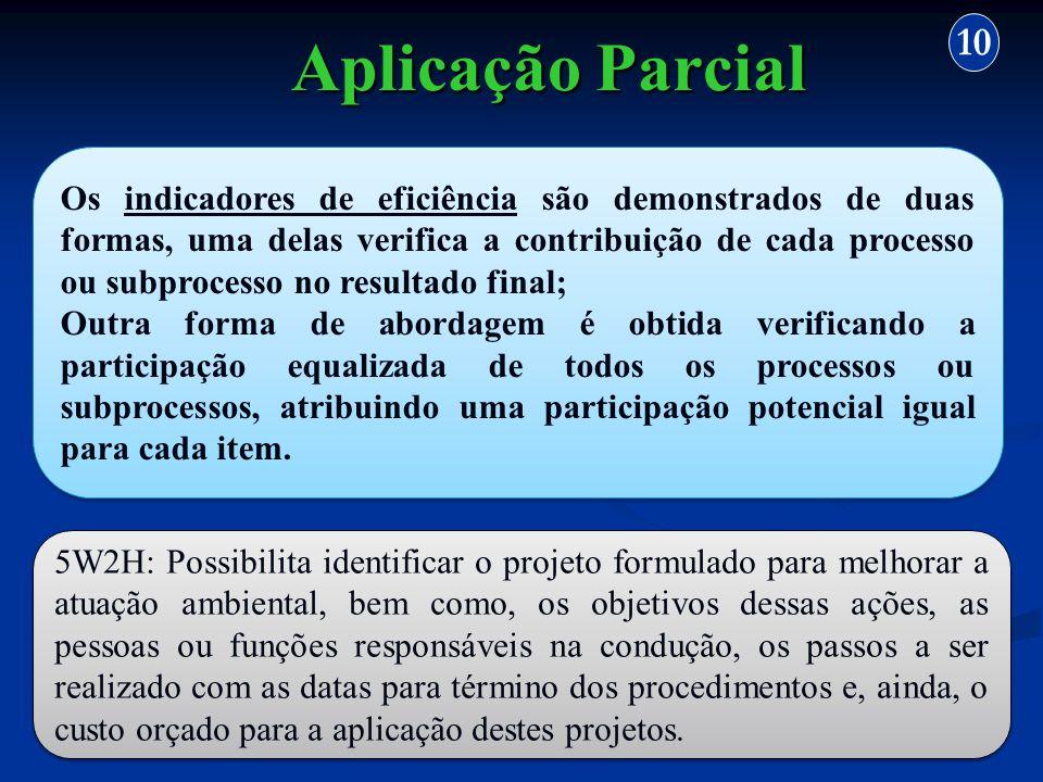 Aplicação Parcial 10 Os indicadores de eficiência são demonstrados de duas formas, uma delas verifica a contribuição de cada processo ou subprocesso n