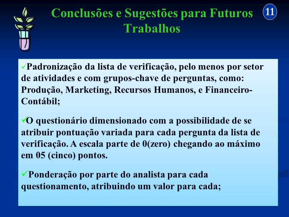 Conclusões e Sugestões para Futuros Trabalhos 11 Padronização da lista de verificação, pelo menos por setor de atividades e com grupos-chave de pergun