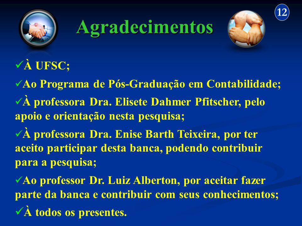 Agradecimentos 12 À UFSC; Ao Programa de Pós-Graduação em Contabilidade; À professora Dra. Elisete Dahmer Pfitscher, pelo apoio e orientação nesta pes