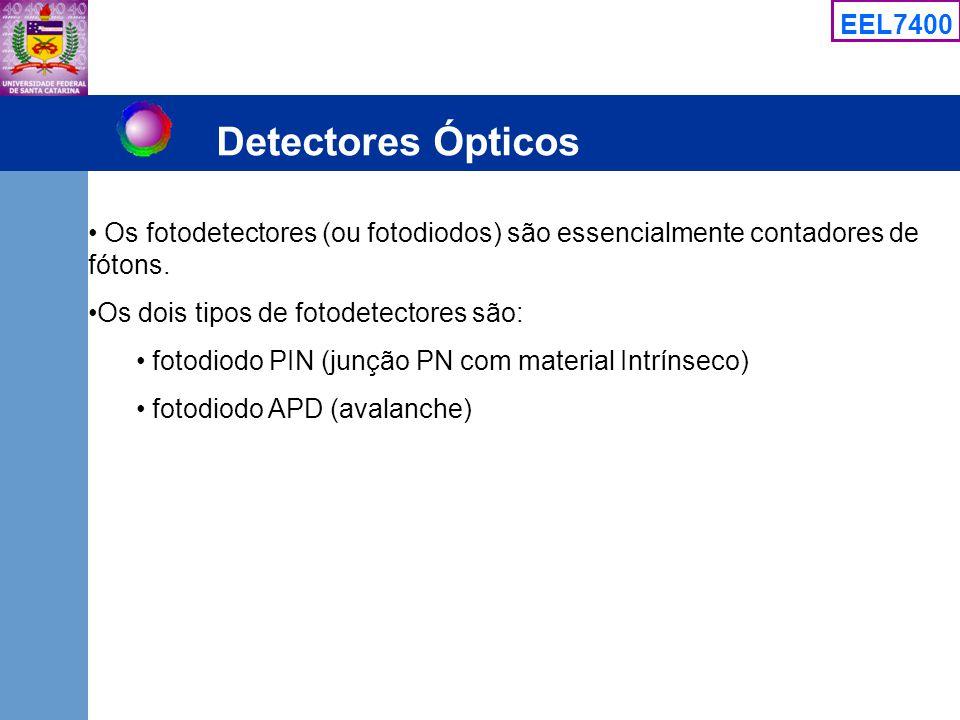 EEL7400 Detectores Ópticos Os fotodetectores (ou fotodiodos) são essencialmente contadores de fótons. Os dois tipos de fotodetectores são: fotodiodo P