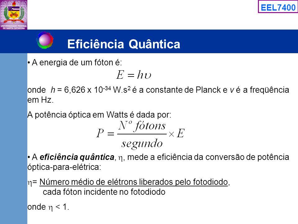 EEL7400 Eficiência Quântica A energia de um fóton é: onde h = 6,626 x 10 -34 W.s 2 é a constante de Planck e v é a freqüência em Hz. A potência óptica