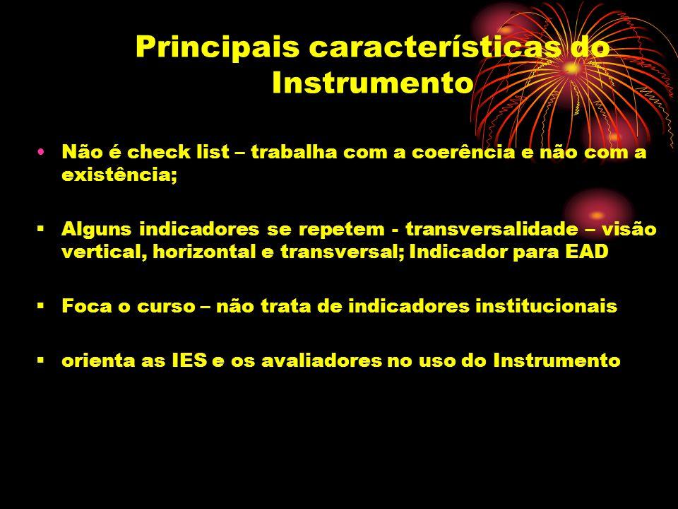 Principais características do Instrumento Não é check list – trabalha com a coerência e não com a existência; Alguns indicadores se repetem - transver