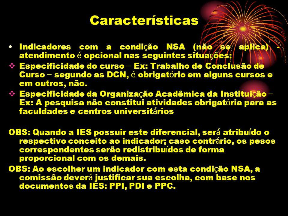 Características Indicadores com a condi ç ão NSA (não se aplica) - atendimento é opcional nas seguintes situa ç ões: Especificidade do curso – Ex: Tra