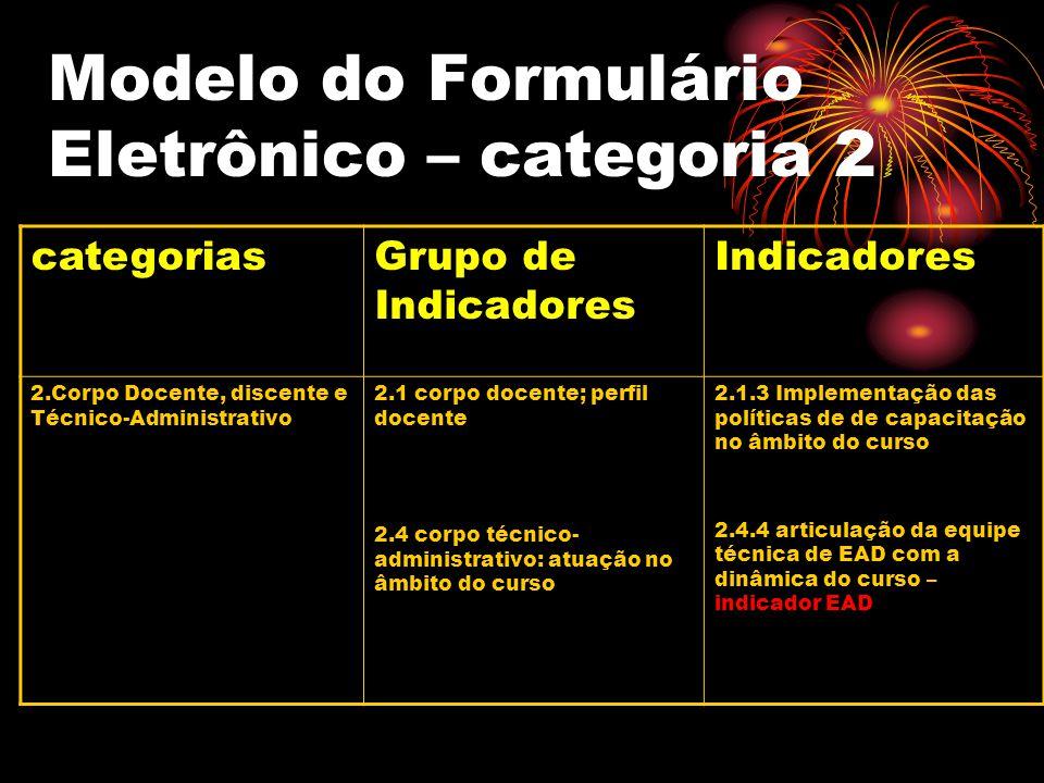 Modelo do Formulário Eletrônico – categoria 2 categoriasGrupo de Indicadores Indicadores 2.Corpo Docente, discente e Técnico-Administrativo 2.1 corpo