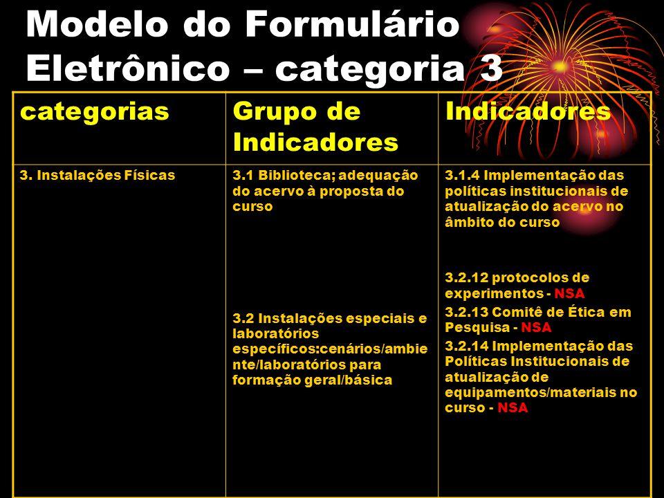 Modelo do Formulário Eletrônico – categoria 3 categoriasGrupo de Indicadores Indicadores 3. Instalações Físicas3.1 Biblioteca; adequação do acervo à p