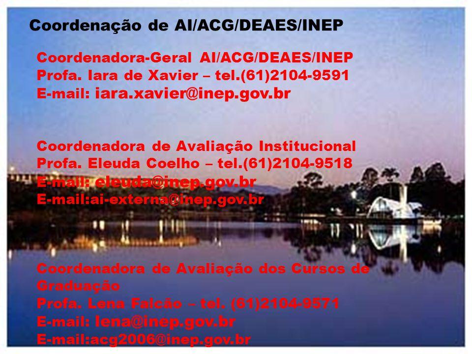 Coordenação de AI/ACG/DEAES/INEP Coordenadora-Geral AI/ACG/DEAES/INEP Profa. Iara de Xavier – tel.(61)2104-9591 E-mail: iara.xavier@inep.gov.br Coorde