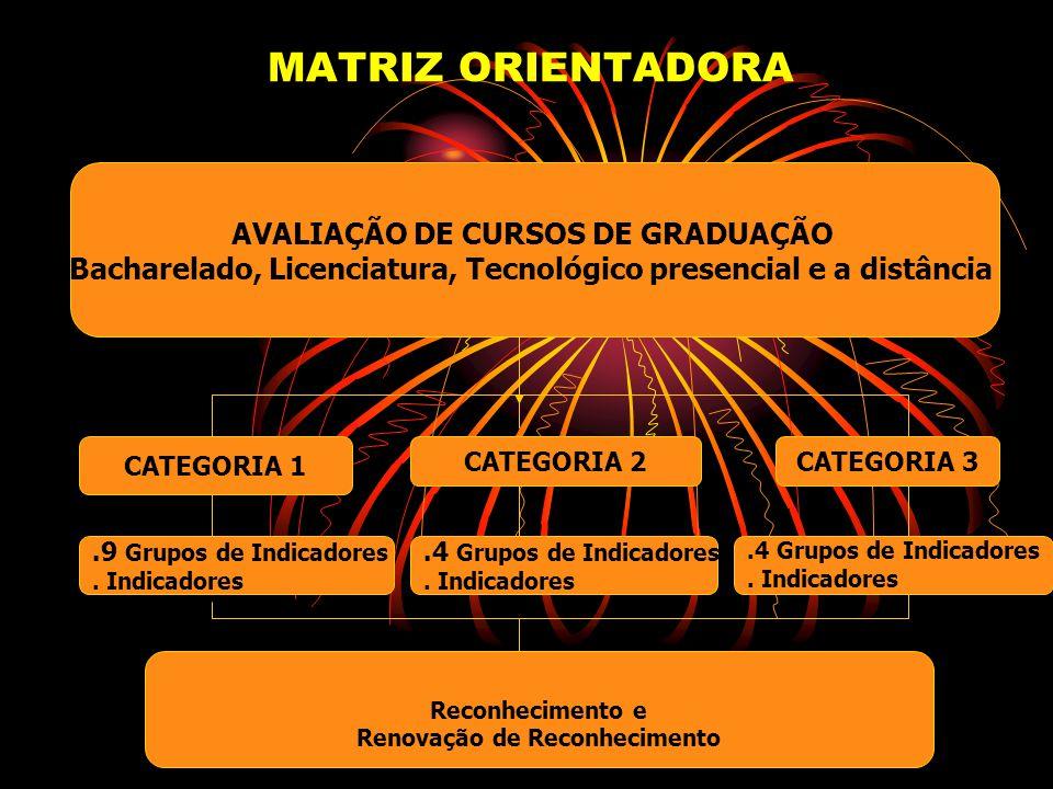 MATRIZ ORIENTADORA AVALIAÇÃO DE CURSOS DE GRADUAÇÃO Bacharelado, Licenciatura, Tecnológico presencial e a distância CATEGORIA 1 CATEGORIA 2CATEGORIA 3