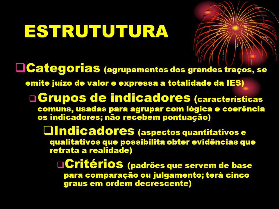 ESTRUTUTURA Categorias (agrupamentos dos grandes traços, se emite juízo de valor e expressa a totalidade da IES) Grupos de indicadores ( característic