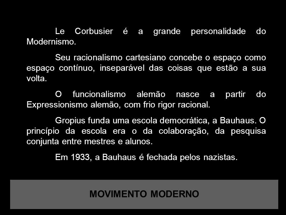 MOVIMENTO MODERNO Le Corbusier é a grande personalidade do Modernismo.