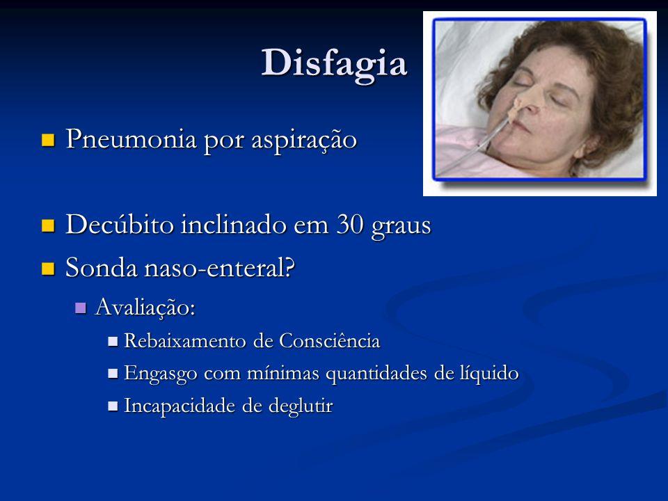 Disfagia Pneumonia por aspiração Pneumonia por aspiração Decúbito inclinado em 30 graus Decúbito inclinado em 30 graus Sonda naso-enteral? Sonda naso-