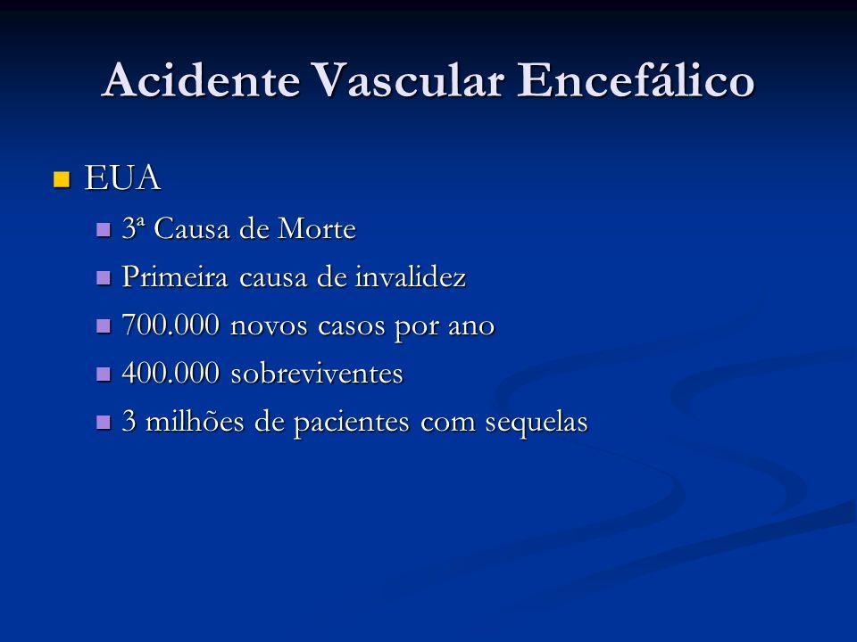 Acidente Vascular Encefálico EUA EUA 3ª Causa de Morte 3ª Causa de Morte Primeira causa de invalidez Primeira causa de invalidez 700.000 novos casos p