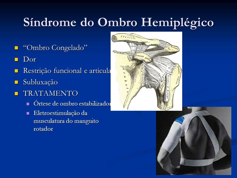Síndrome do Ombro Hemiplégico Ombro Congelado Ombro Congelado Dor Dor Restrição funcional e articular Restrição funcional e articular Subluxação Sublu