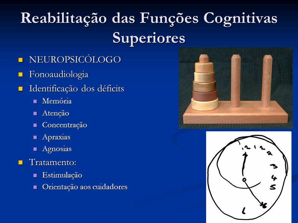 Reabilitação das Funções Cognitivas Superiores NEUROPSICÓLOGO NEUROPSICÓLOGO Fonoaudiologia Fonoaudiologia Identificação dos déficits Identificação do