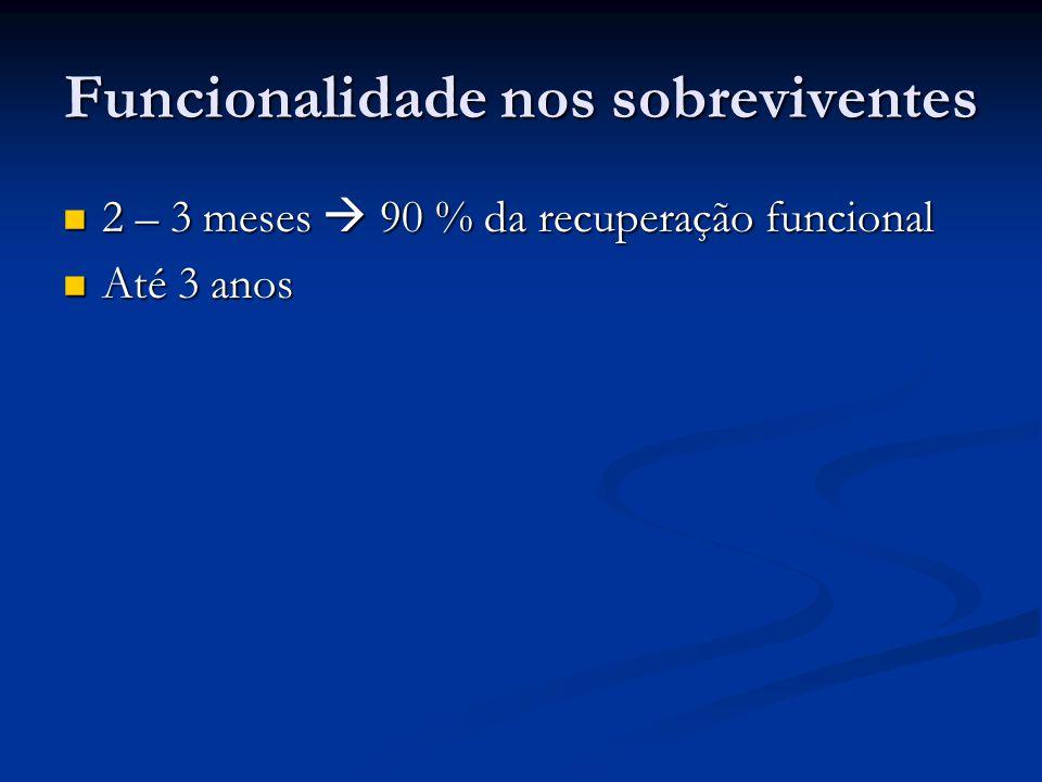 Funcionalidade nos sobreviventes 2 – 3 meses 90 % da recuperação funcional 2 – 3 meses 90 % da recuperação funcional Até 3 anos Até 3 anos