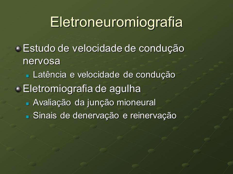 Eletroneuromiografia Estudo de velocidade de condução nervosa Latência e velocidade de condução Latência e velocidade de condução Eletromiografia de a