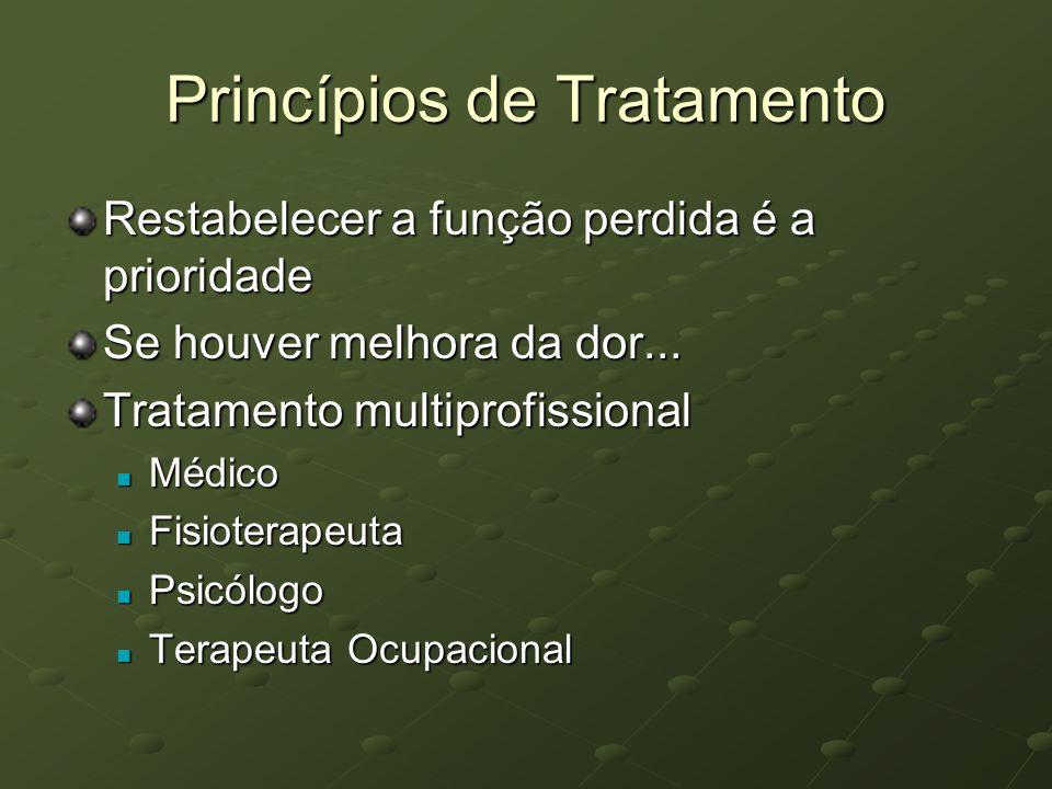 Princípios de Tratamento Restabelecer a função perdida é a prioridade Se houver melhora da dor... Tratamento multiprofissional Médico Médico Fisiotera