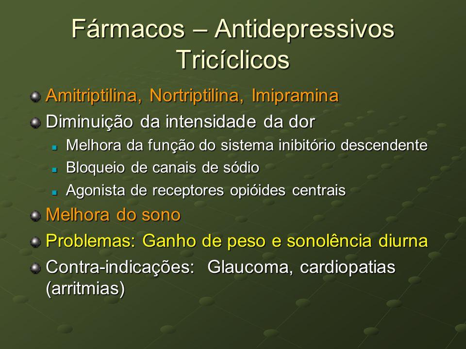 Fármacos – Antidepressivos Tricíclicos Amitriptilina, Nortriptilina, Imipramina Diminuição da intensidade da dor Melhora da função do sistema inibitór