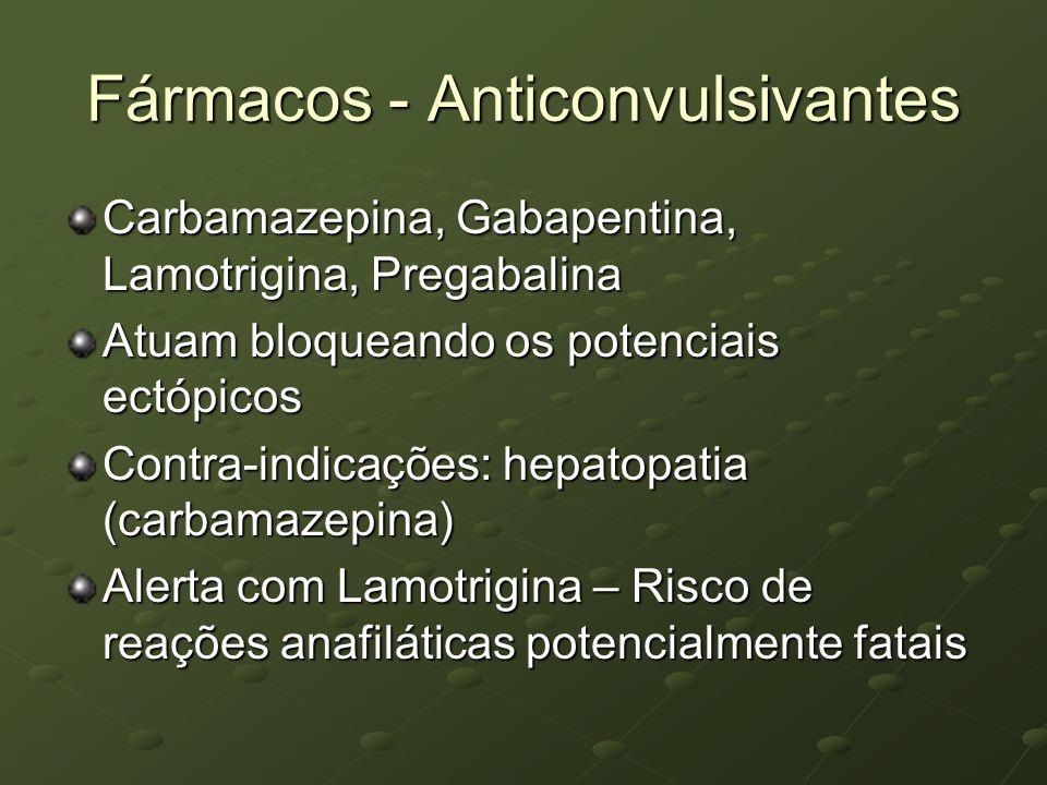 Fármacos - Anticonvulsivantes Carbamazepina, Gabapentina, Lamotrigina, Pregabalina Atuam bloqueando os potenciais ectópicos Contra-indicações: hepatop
