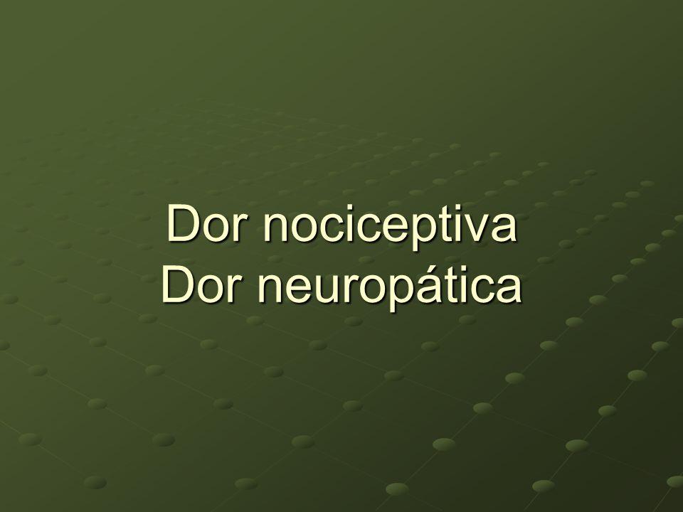 Dor Neuropática Definição IASP: Dor iniciada ou causada por uma lesão primária do Sistema Nervoso.