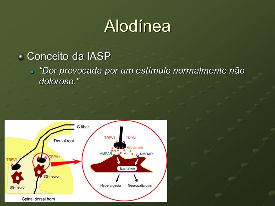 Alodínea Conceito da IASP Dor provocada por um estímulo normalmente não doloroso. Dor provocada por um estímulo normalmente não doloroso.