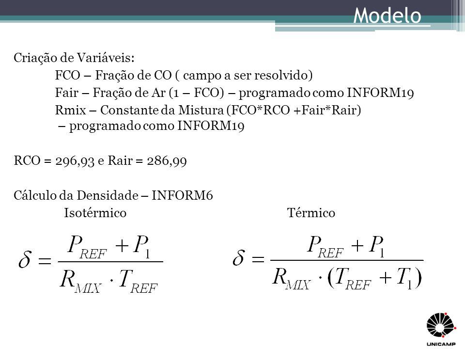 Modelo de Turbulência: LVEL PRT (CO) = 0,6928 PRANDTL (CO) = 0,7593 FONTES ESPECIAIS – programação no Grupo 13 INLET (INCO01,EAST,7,7,2,2,1,1,1,1) VALUE (INCO01,P1, 5.090000E-01) – ρ(CO)*U1 VALUE (INCO01,U1, 5.000000E-01) VALUE (INCO01,V1, 0.000000E+00) VALUE (INCO01,TEM1, 2.800000E+01) – Somente para Térmico COVAL (INCO01,FCO, FIXVAL, 9.810000E-05) – Correlação para área do bloco para gases de escape com concentração de 0,5% de CO TREF = 295 K = 22°C Modelo