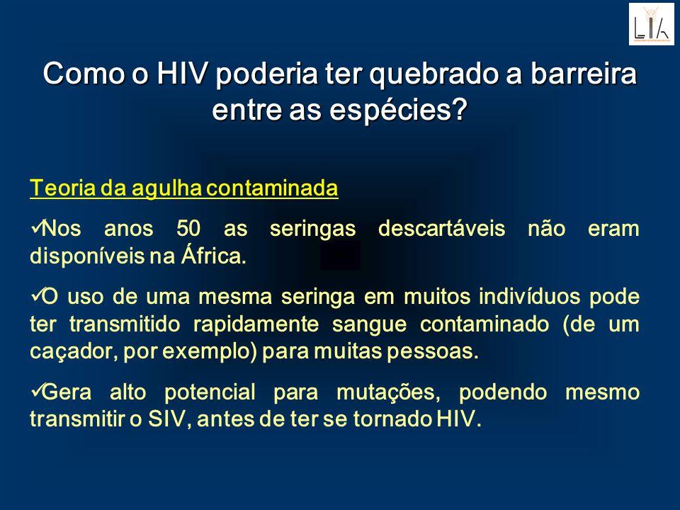 Como o HIV poderia ter quebrado a barreira entre as espécies? Teoria da agulha contaminada Nos anos 50 as seringas descartáveis não eram disponíveis n