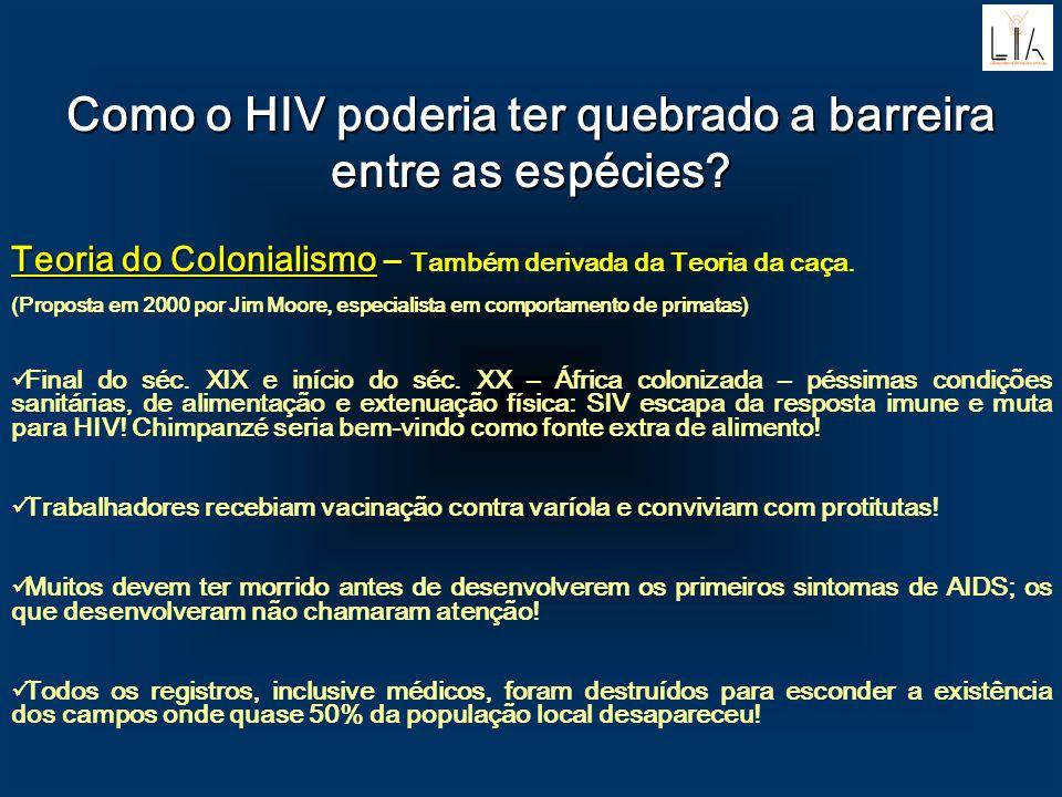 Como o HIV poderia ter quebrado a barreira entre as espécies? Teoria do Colonialismo – Teoria do Colonialismo – Também derivada da Teoria da caça. (Pr