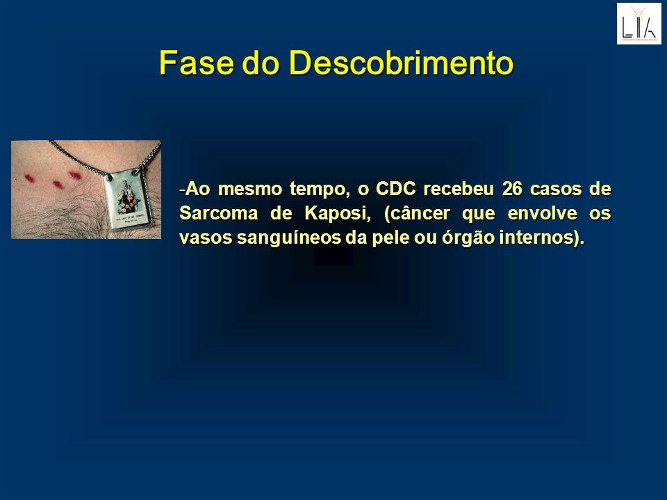 Fase do Descobrimento -Ao mesmo tempo, o CDC recebeu 26 casos de Sarcoma de Kaposi, (câncer que envolve os vasos sanguíneos da pele ou órgão internos)