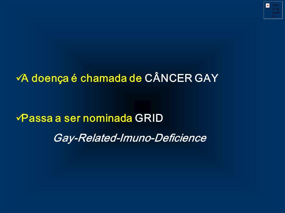 A doença é chamada de CÂNCER GAY Passa a ser nominada GRID Gay-Related-Imuno-Deficience