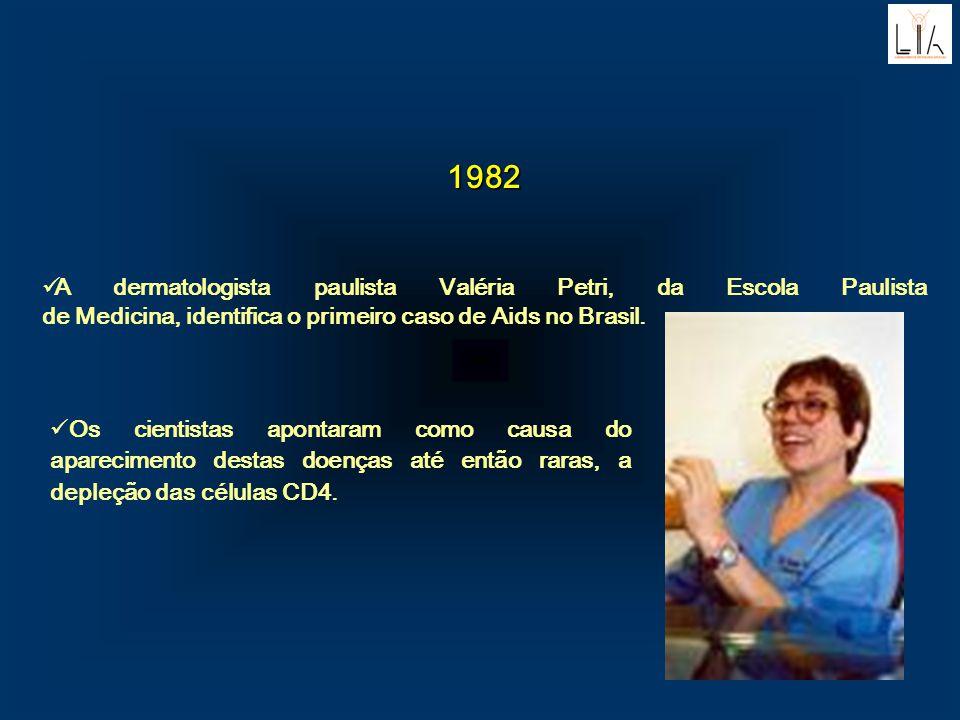 1982 A dermatologista paulista Valéria Petri, da Escola Paulista de Medicina, identifica o primeiro caso de Aids no Brasil. Os cientistas apontaram co