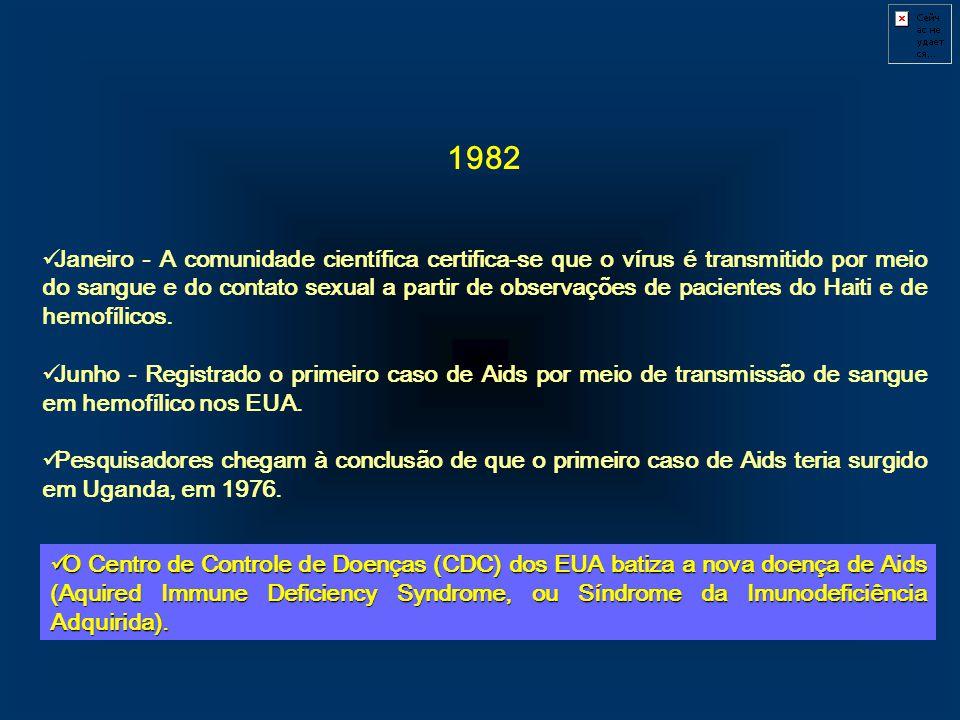 1982 Janeiro - A comunidade científica certifica-se que o vírus é transmitido por meio do sangue e do contato sexual a partir de observações de pacien